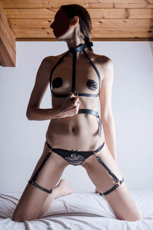 girl wearing bijoux indiscrets harness garter pasties