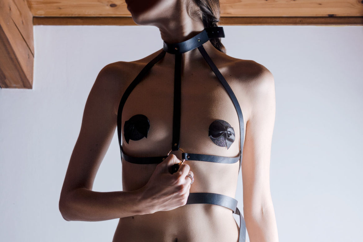 vegan leather harness garters pasties bondage inspired by bijoux indiscrets