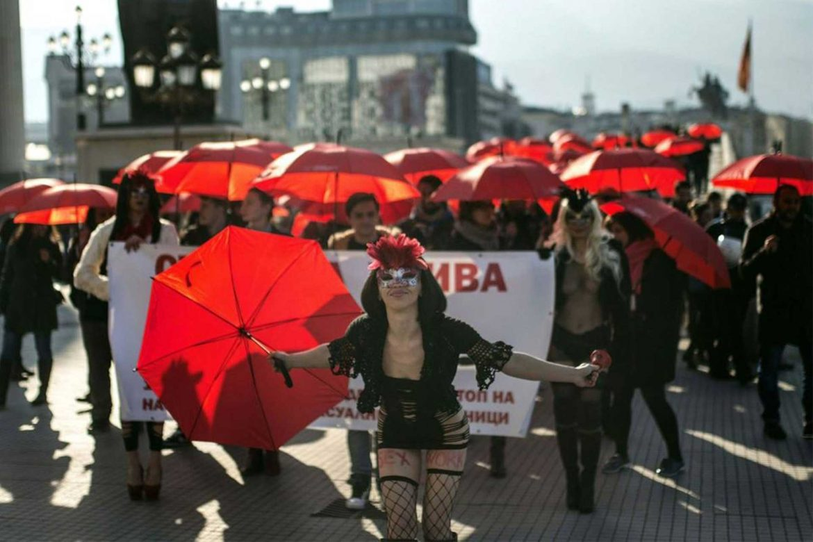 red umbrella march in macedonia