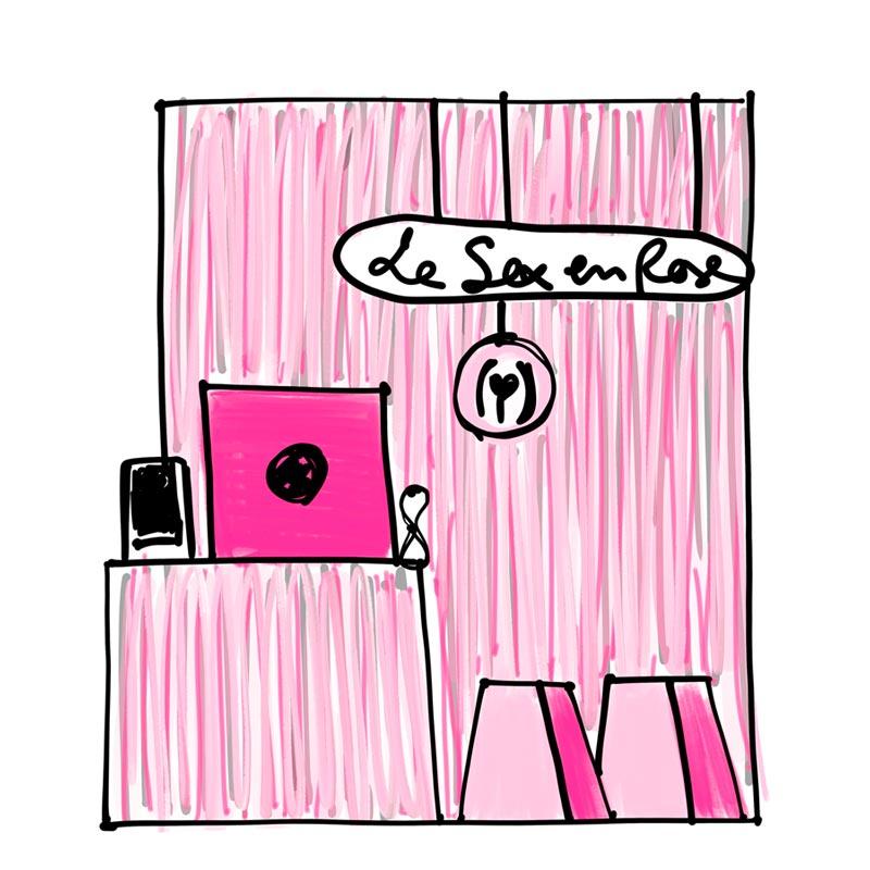 bozzetto allestimento Piacere in scatola Le sex en rose