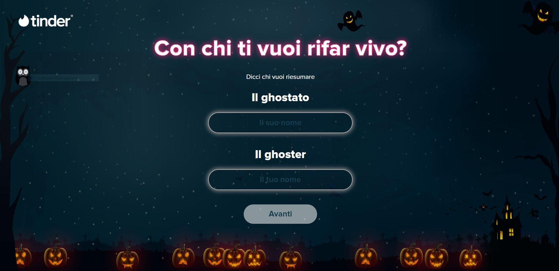 schermata sito tinder itsyourboo per ghosting ad halloween